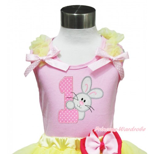 Easter Light Pink Tank Top Yellow Ruffles Light Pink White Dots Bow & 1st Rabbit Birthday Number Print TP241