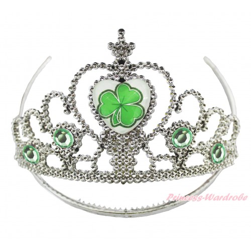 St Patrick's Day Clover Light Green Crystal Tiara Crowns H981