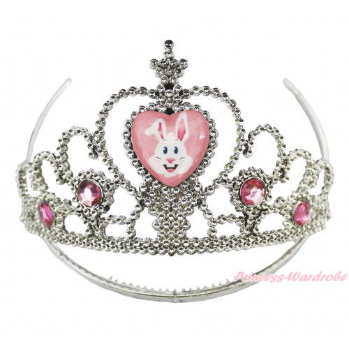 Easter Bunny Rabbit Light Pink Crystal Tiara Crowns H982