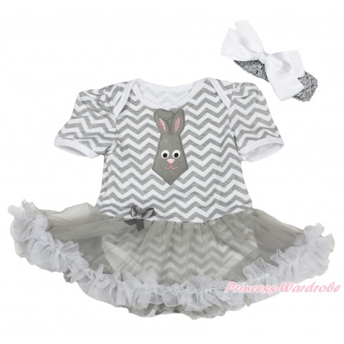 Easter Grey White Chevron Baby Bodysuit Grey Pettiskirt & Grey Rabbit Tie Print JS4321
