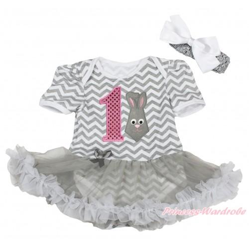 Easter Grey White Chevron Baby Bodysuit Grey Pettiskirt & 1st Sparkle Light Pink Birthday Number Grey Rabbit Print JS4322
