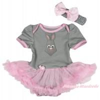 Easter Grey Baby Bodysuit Light Pink Pettiskirt & Grey Rabbit Tie Print JS4323