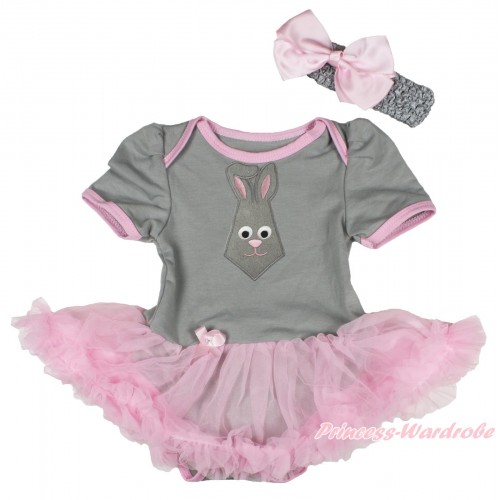 Easter Grey Baby Bodysuit Light Pink Pettiskirt & Grey Rabbit Tie Print JS4323