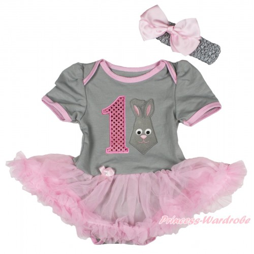Easter Grey Baby Bodysuit Light Pink Pettiskirt & 1st Sparkle Light Pink Birthday Number Grey Rabbit Print JS4324
