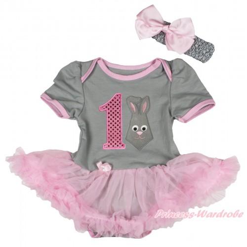 Easter Grey Baby Bodysuit Light Pink Pettiskirt & 1st Sparkle Light Pink Birthday Number Grey Rabbit Print JS4324