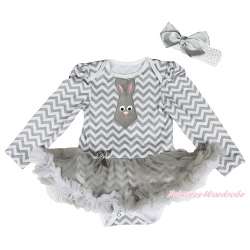 Easter Grey White Chevron Long Sleeve Bodysuit Grey White Pettiskirt & Grey Rabbit Tie Print JS4333