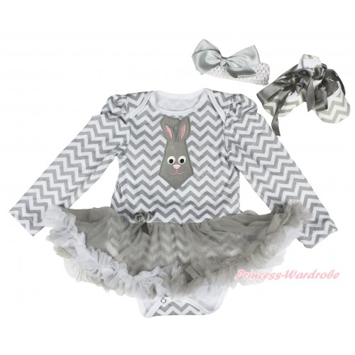 Easter Grey White Chevron Long Sleeve Baby Bodysuit Grey White Pettiskirt & Grey Rabbit Tie Print & White Headband Grey Silk Bow & Grey White Wave Shoes JS4334