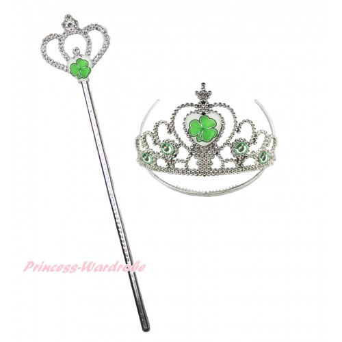St Patrick's Day Clover Crown Wand & Clover Light Green Crystal Crown Costume Set K27