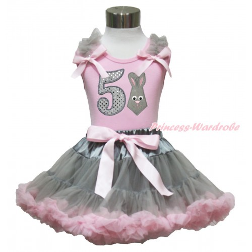 Easter Light Pink Tank Top Grey Ruffles Light Pink Bow & 5th Sparkle White Birthday Number Grey Rabbit Print & Grey Light Pink Pettiskirt M621