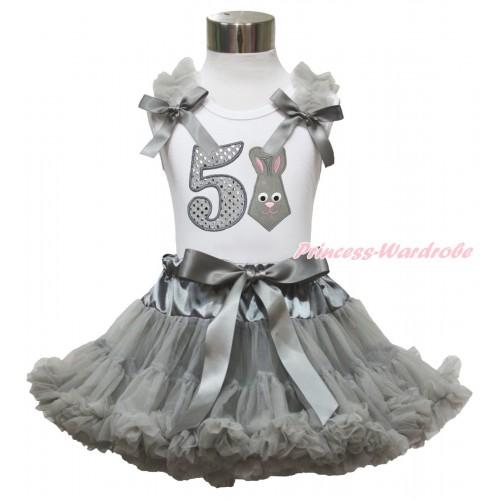 Easter White Tank Top Grey Ruffles & Bow & 5th Sparkle White Birthday Number Grey Rabbit Print & Grey Pettiskirt MG1487