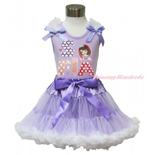 Lavender Tank Top White Ruffles Lavender Bow & Princess Sofia Painting & Lavender White Pettiskirt MN140