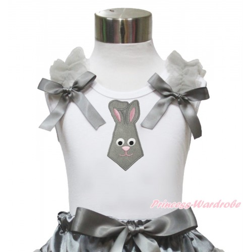 Easter White Tank Top Grey Ruffles & Bow & Grey Rabbit Tie Print TB1043