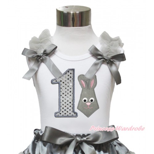 Easter White Tank Top Grey Ruffles & Bow & 1st Sparkle White Birthday Number Grey Rabbit Print TB1044