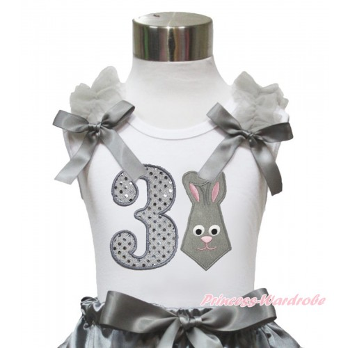 Easter White Tank Top Grey Ruffles & Bow & 3rd Sparkle White Birthday Number Grey Rabbit Print TB1046