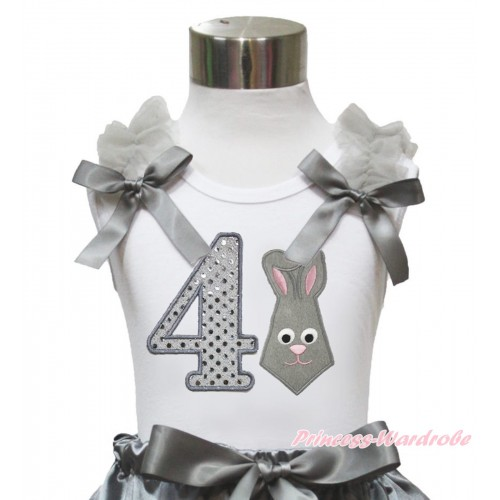 Easter White Tank Top Grey Ruffles & Bow & 4th Sparkle White Birthday Number Grey Rabbit Print TB1047