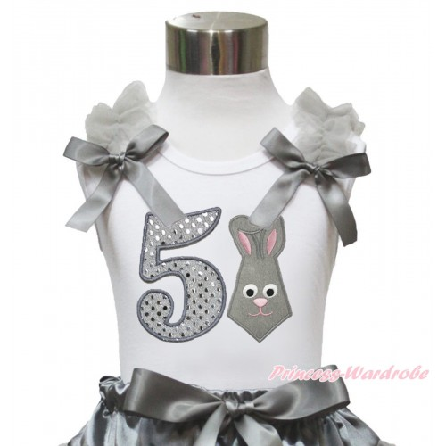 Easter White Tank Top Grey Ruffles & Bow & 5th Sparkle White Birthday Number Grey Rabbit Print TB1048