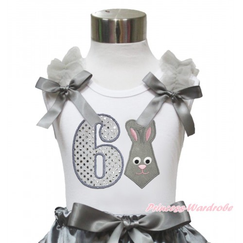 Easter White Tank Top Grey Ruffles & Bow & 6th Sparkle White Birthday Number Grey Rabbit Print TB1049