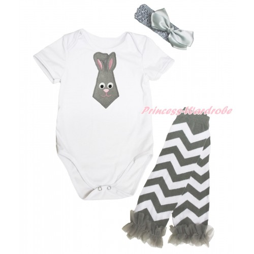 White Baby Jumpsuit Grey Rabbit Tie Print & Grey Headband Silk Bow & Grey Ruffles Grey White Chevron Leg Warmer Set TH553