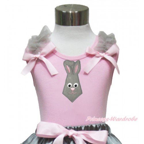 Easter Light Pink Tank Top Grey Ruffles Light Pink Bow & Grey Rabbit Tie Print TP243