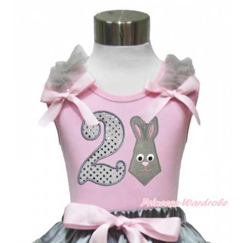 Easter Light Pink Tank Top Grey Ruffles Light Pink Bow & 2nd Sparkle White Birthday Number Grey Rabbit Print TP245