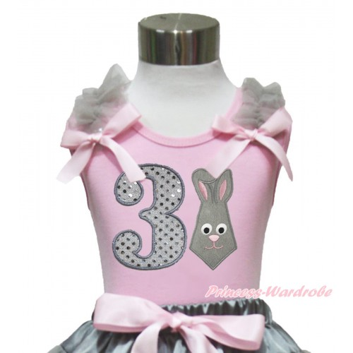 Easter Light Pink Tank Top Grey Ruffles Light Pink Bow & 3rd Sparkle White Birthday Number Grey Rabbit Print TP246