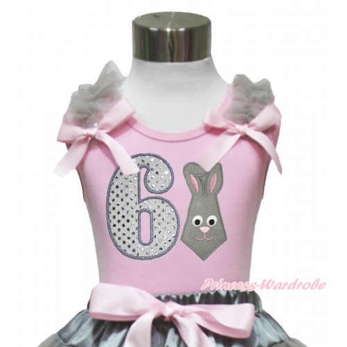 Easter Light Pink Tank Top Grey Ruffles Light Pink Bow & 6th Sparkle White Birthday Number Grey Rabbit Print TP249