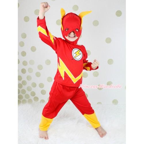 Hero Flash Red Yellow Long Sleeve Boy Dress Up Costume & Mask Set C394