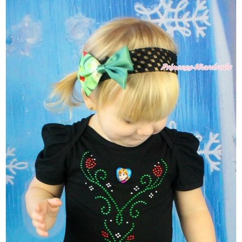 Frozen Black Headband & Anna Coronation Green Satin Bow Hair Clip H985