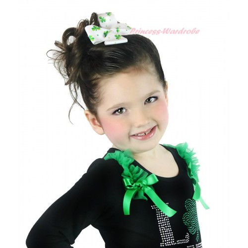 St Patrick's Day Green White Clover Ribbon Bow Hair Clip H987