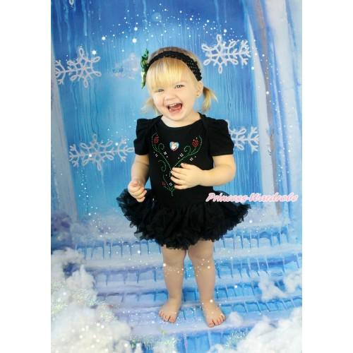 Frozen Black Baby Bodysuit Pettiskirt & Sparkle Rhinestone Princess Anna & Heart Print JS4335