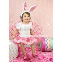 Easter White Baby Bodysuit Sparkle Light Pink Sequins Pettiskirt & Sparkle Rhinestone Bunny Rabbit Print JS4336