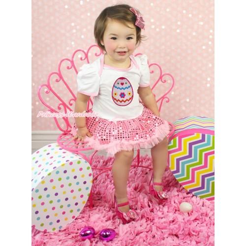 Easter White Baby Bodysuit Sparkle Light Pink Sequins Pettiskirt & Easter Egg Print JS4337