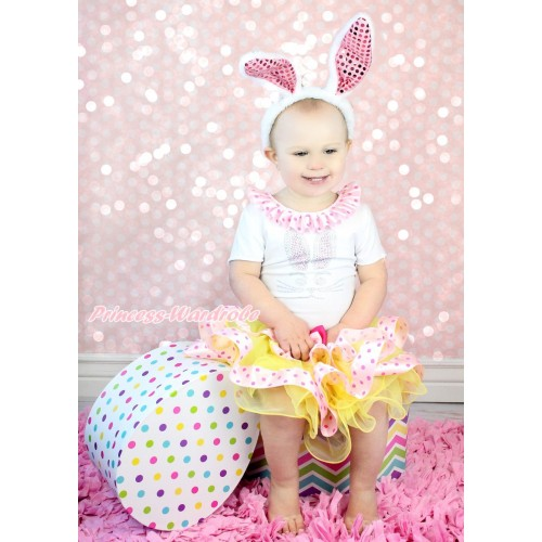 Easter White Short Sleeve Top Light Hot Pink Dots Lacing & Rhinestone Bunny Rabbit & Pink Ribbon Bow Yellow Light Hot Pink Dots Trimmed Tutu Pettiskirt & Bling Light Pink Rabbit Ear Headband SC85