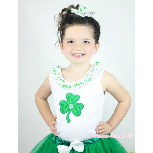 St Patrick's Day White Tank Top Clover Satin Lacing & Clover Print TB1037