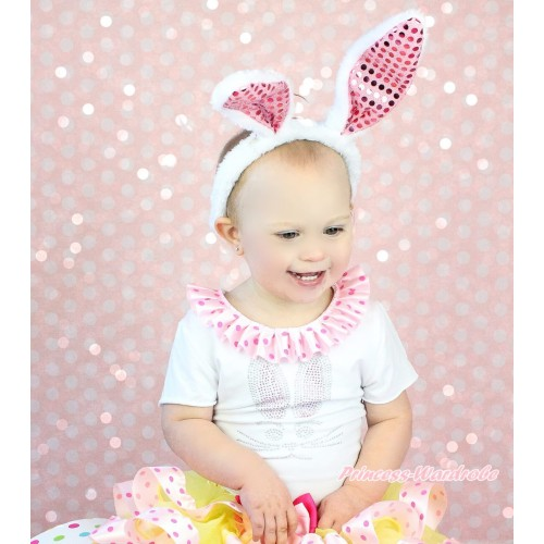 Easter White Short Sleeves Top Light Hot Pink Dots Lacing & Sparkle Rhinestone Bunny Rabbit Print TS60