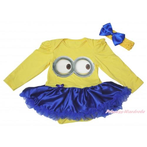 Yellow Long Sleeve Bodysuit Royal Blue Satin Pettiskirt & Minion Big Eyes Painting JS4916