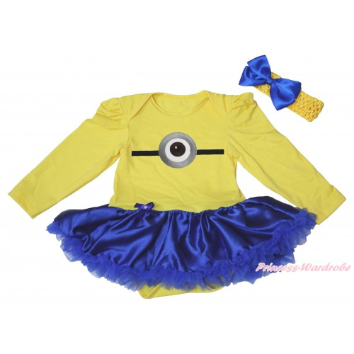 Yellow Long Sleeve Bodysuit Royal Blue Satin Pettiskirt & Minion Print JS4917