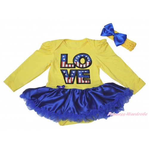 American's Birthday Yellow Long Sleeve Bodysuit Royal Blue Satin Pettiskirt & Patriotic American Sequins LOVE Print JS4918