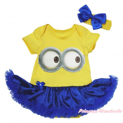 Yellow Baby Bodysuit Royal Blue Satin Pettiskirt & Minion Big Eyes Painting JS4922