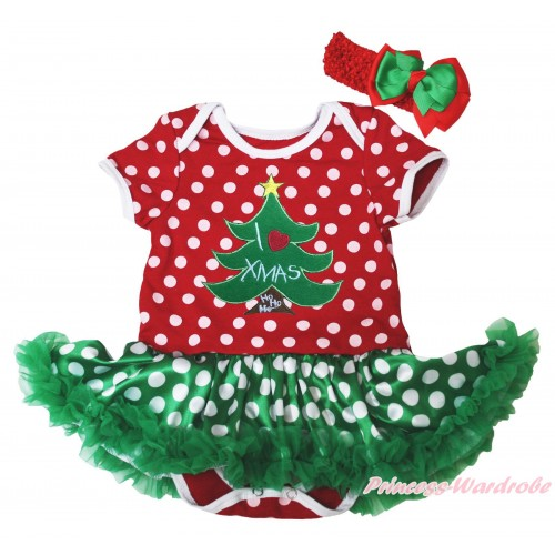 Christmas Minnie Dots Baby Bodysuit Green White Dots Pettiskirt & I Love Xmas Tree Print JS4924