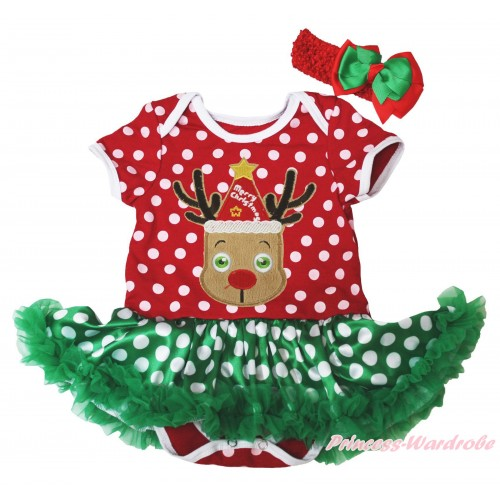 Christmas Minnie Dots Baby Bodysuit Green White Dots Pettiskirt & Red Hat Reindeer Print JS4926