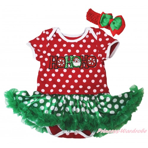 Christmas Minnie Dots Baby Bodysuit Green White Dots Pettiskirt & HOHOHO Santa Claus Print JS4927