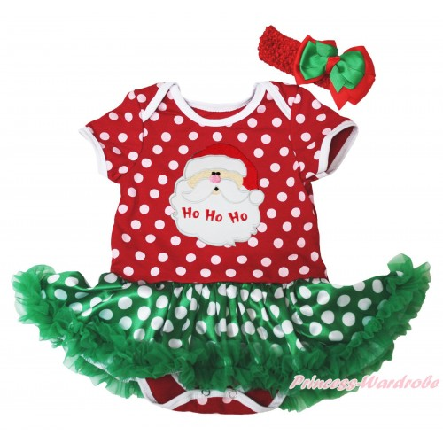 Christmas Minnie Dots Baby Bodysuit Green White Dots Pettiskirt & Santa Claus Print JS4928