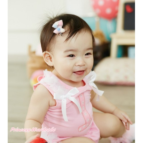 Light Pink Tank Top White Ruffles & Bow & 1st Light Pink White Dots Birthday Number Print TB1379