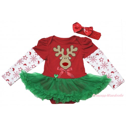 Christmas Max Style Snowflakes Long Sleeve Red Baby Bodysuit Kelly Green Pettiskirt & Christmas Reindeer & Minnie Dots Bow Print JS4930