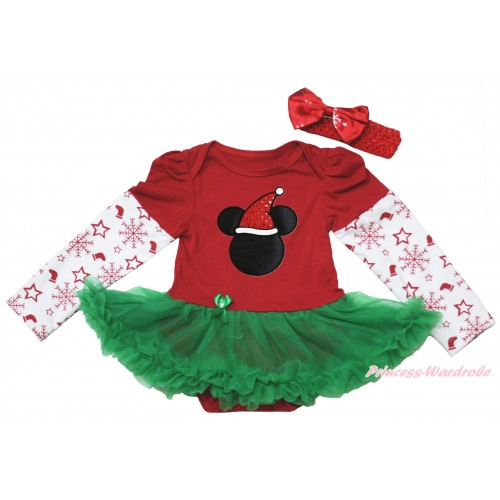 Christmas Max Style Snowflakes Long Sleeve Red Baby Bodysuit Kelly Green Pettiskirt & Christmas Minnie Print JS4932