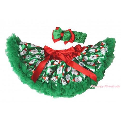 Christmas Kelly Green Santa Claus Newborn Pettiskirt N278