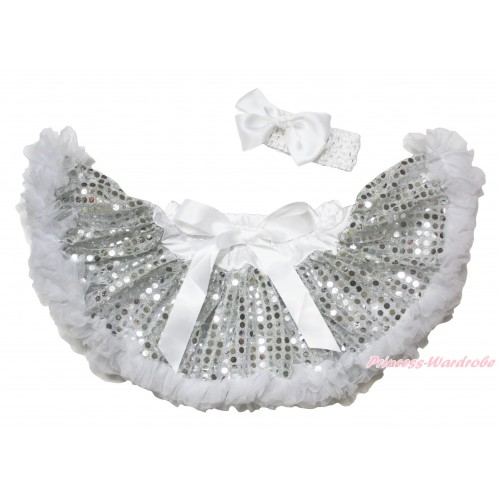 White Sparkle Bling Sequins New Born Pettiskirt N280