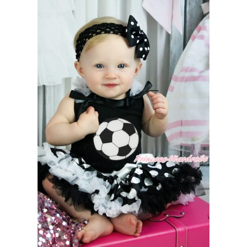 Black Baby Pettitop White Ruffles Black Bows & Football Print & Black White Giant Dots Newborn Pettiskirt NG1899