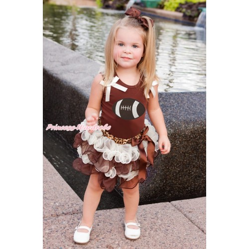 Brown Baby Pettitop Cream White Ruffles & Bow & Rugby Ball Print & Leopard Waist Crean White Brown Petal Newborn Pettiskirt NG1903